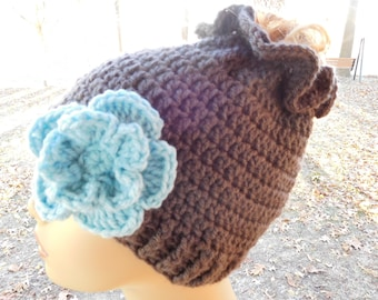 Crocheted Messy Bun/ Ponytail Beanie in Charcoal Grey with Detachable  Flower in Aqua