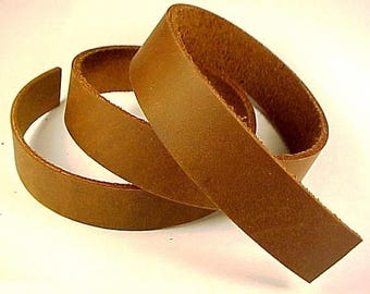 """One 5-6oz BROWN OIL-TANNED Leather Strip Straps 1-3/4""""-3"""" wide x 12""""-108"""" length"""