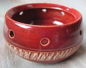 Orchid Flower Pot Ceramic Bowl Handmade Chattered Pottery Small Planter Dish Stoneware Ceramics Fire Brick Red Glaze Serving Bowl