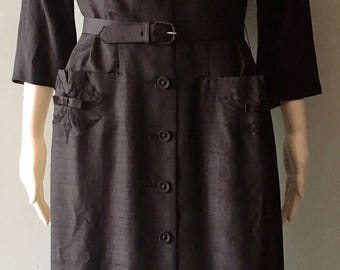 Beautiful 1950's black silk button up pocket dress size medium