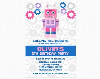 Robot Birthday Party Invitation, Robot Invites, Girl Robot, Robot Party, Pink, Purple, Printable and Printed