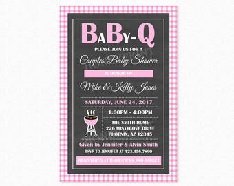 Baby Q Baby Shower Invitation, Barbeque Baby Shower Invitation, Pink, Chalkboard, Personalized, Printable and Printed