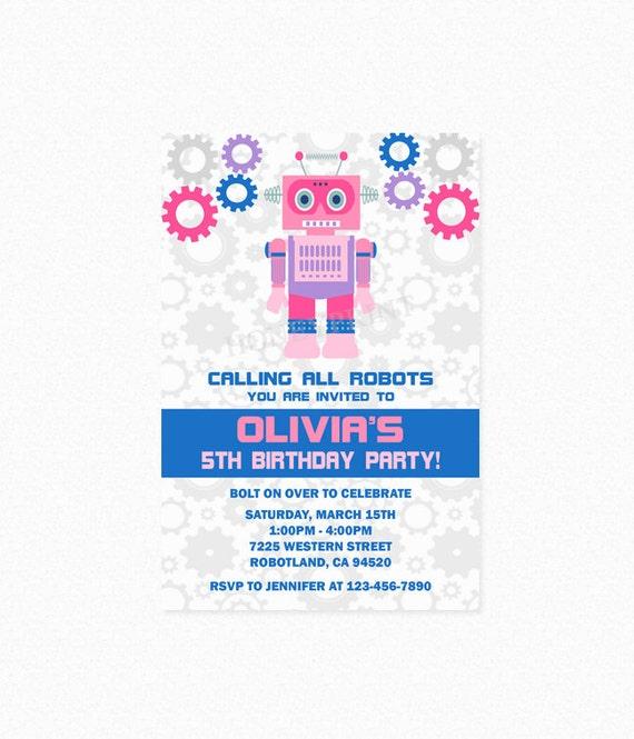 Robot birthday party invitation robot invites girl robot robot il570xn filmwisefo Gallery