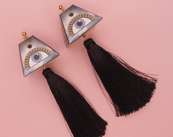 "SALE Tassel Earrings // Eye  Earrings // Geometric Earrings // Statement Earrings // Art Deco Jewelry // The ""Expansions"""