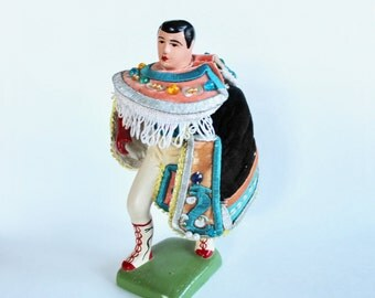 Vintage Traditional Mexican Fighter Figurine- Painted Plaster with Ornate Costume