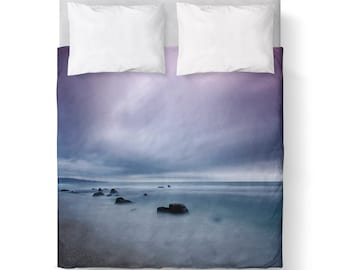 Beach  Sky Purple Blue Duvet Cover/ Bedding/ Comforter Cover/ Twin, Queen, King/ Made To Order/ Beach Sky Purple Blue, Duvet Cover