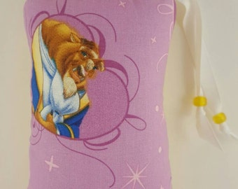 Hand Pipe Sized, Medium Sized, Padded, Beast, The Beast, Fairy Tales, Beauty and the Beast,  Print, Cute Bag, Glass Pipe Bag, Padded