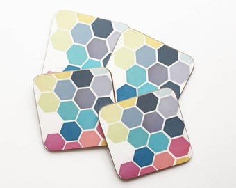 Set of Four Geometric Honeycomb Pattern Coasters With Rounded Corners - Honeycomb II