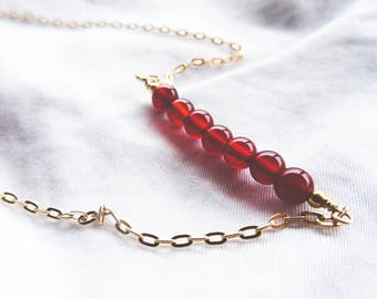 Carnelian and Gold Beaded Bar Necklace | Gold Filled and Red Gemstone Necklace | You're a Gem Collection
