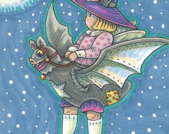 Little Halloween Fairy Fantasy Art ACEO Susan Brack Ebsq EHAG