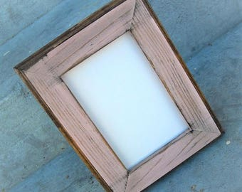 11 x 14 Picture Frame, Pink Rustic Weathered Style With Routed Edges, Rustic Home Decor, Rustic Wood Frame, Wooden Frame, Home Decor