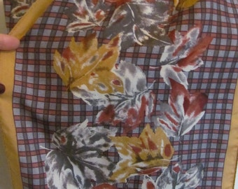 "Scarf Beautiful Brown Floral Skinny Silk Scarf // 10"" x 52"" Long"