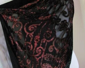 "Beautiful Sheer Black Red Fuzzy Flocked Silky Scarf  - 20"" x 80"" Long OMG My Fav"