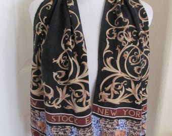"Scarf NYSE New York Stock Exchange // Beautiful Black Soft Silk Scarf // 13"" x 52"" Long"