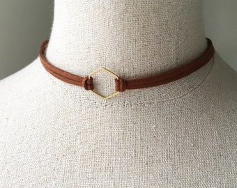 Brown Leather Hexagon Choker, Adjustable Suede Geometric Double Chocker Necklace, Bronze Brass Honeycomb Shape Charm Bridesmaids Boho