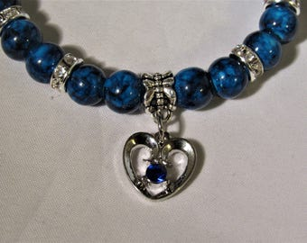 Dark Blue with Heart Charm Beaded Stretchy Bracelet