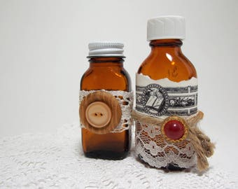 Pair of Small Altered Vintage Apothecary Medicine Bottles Cottage Chic Decor