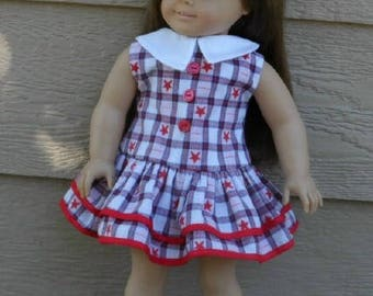American 18 inch Doll 1930s Ruffled Play Dress in Red, Blue & White
