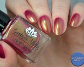 """Nail polish - """"Looks Can kill""""  Red with green to pink shimmer"""