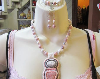 Howlite and Rhodonite Bead Embroidered Necklace, Bracelet and Earring Set