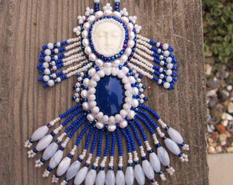 Mother Moon Bead Embroidered Necklace