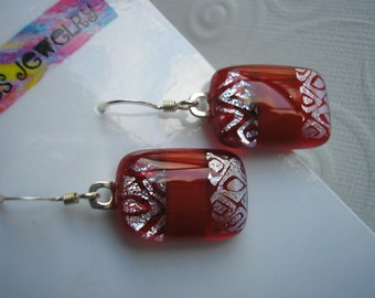 Dichroic Glass Earrings Red Holly Berry and Silver Dangly 925 Sterling French Hooks Kiln Fused Glass Color Jewelry Shifting Home Made Crafts