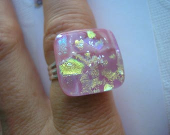 Fused Glass Ring Rose Pink and Gold Adjustable Band Dichroic Glass Square Cabochon Statement Pink Jewelry One Size Ring Home Crafted Jewelry