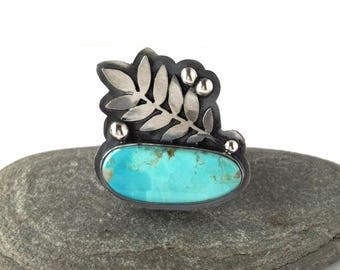 Turquoise and Sterling Silver Ring with Leaves - Awaken Ring
