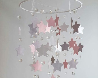 SMALL Crystal and Star Crystal Chandelier Baby Pink White Gray Shimmer Nursery Baby Mobile Shabby Chic Nursery Photography Prop