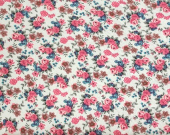 Off White Pink Blue and Brown Petite Vintage Look Floral Rayon Spandex Jersey Knit Fabric, 1 Yard