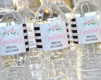 Bridal Shower Water Bottle Labels, Bachelorette Party, Wedding Labels, Engagement Party, Bachelorette Party, Black Stripe Floral - Set of 10