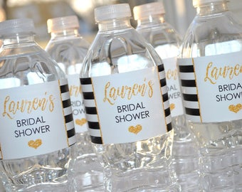 Bridal Shower Water Bottle Labels, Bachelorette Party, Wedding Labels, Engagement Party, Bachelorette Party, Gold & Black Stripe - Set of 10