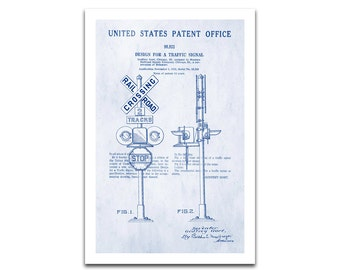 Railway Crossing Signal Patent Art Giclee on archival matte paper