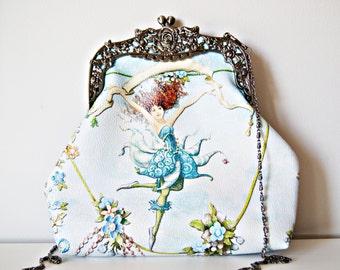 Hand made Printed UP-Leather Frame Bag. Blue Fairy Frame Bag. Black Silver Frame Bag. Ornate Frame Bag. Women Bag. Victorian Bag.