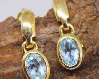 Vintage 9ct Earrings Gold Blue Topaz Jewellery Jewelry 9 Carat 9K Pierced Drop Earrings Gold Earrings Topaz Blue Jewellery Blue Earrings