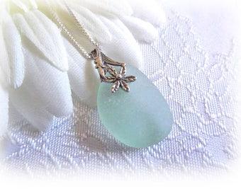 Aqua Beach Glass Sterling Silver Necklace