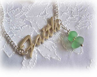 Beach Glass Inspirational Necklace
