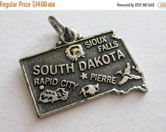 SPRING SALE Vintage 50s Sterling Silver South Dakota State Souvenir Map Bracelet Charm