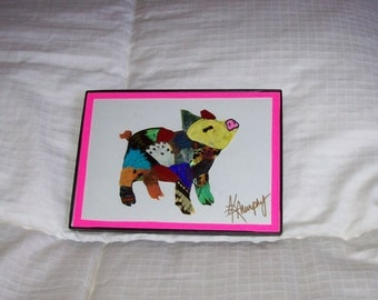 """Real  Butterfly Wings Framed """" Pig """" Collage"""