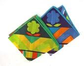 1960s Bold Flower Power Print Handkerchief Pair