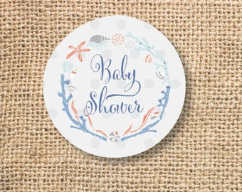 Nautical Baby Shower Printable Favor Circles Boho Maritime Frame Ocean Baby Boy Shower Favor Tags Cupcake Toppers - INSTANT DOWNLOAD