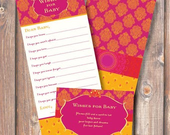 Morocco Pink and Gold Baby Wishes Printable Baby Girl Shower Printable Game Moroccan Fuchsia and Yellow Wishes for Baby Game INSTANT DOWLOAD