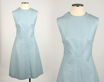 mod LEATHER dress • designer 1960s minimalist A-line dress