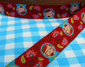 Jacquard Ribbon, Matroschka Ribbon,  Farbenmix woven red babushka webband,  Sewing Tape, 1 metre