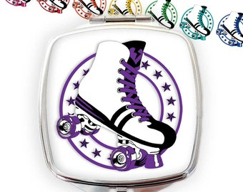 Retro Roller Skate Compact Mirror - Roller Derby Gift - Roller Disco Pocket Mirror - Roller Skate Gift - Roller Girl Gift - Retro 80s gift