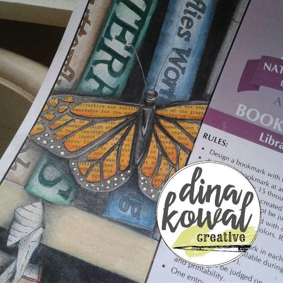 Digital stamp - Library Butterfly