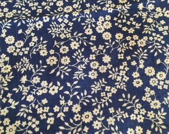 Vintage Fabric Blue White Quilting Patchwork Calico 2 yards