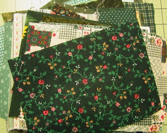 4 ozs of Green Fabric Scraps Vintage and Newer Assorted Green Cotton Fabric Scraps-Green Calico Scraps-Destash