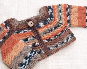 Waldorf Doll Clothes -Hand knitted Sweater Brown/Orange/Black/Beige colors, fit 15- 17 inch size