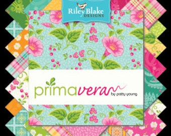 """Primavera 5"""" Squares Charm Pack by Patty Young for Riley Blake, 42 pieces"""